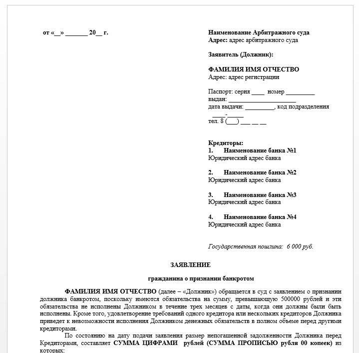 Заявление на банкротство физического лица: образец составления